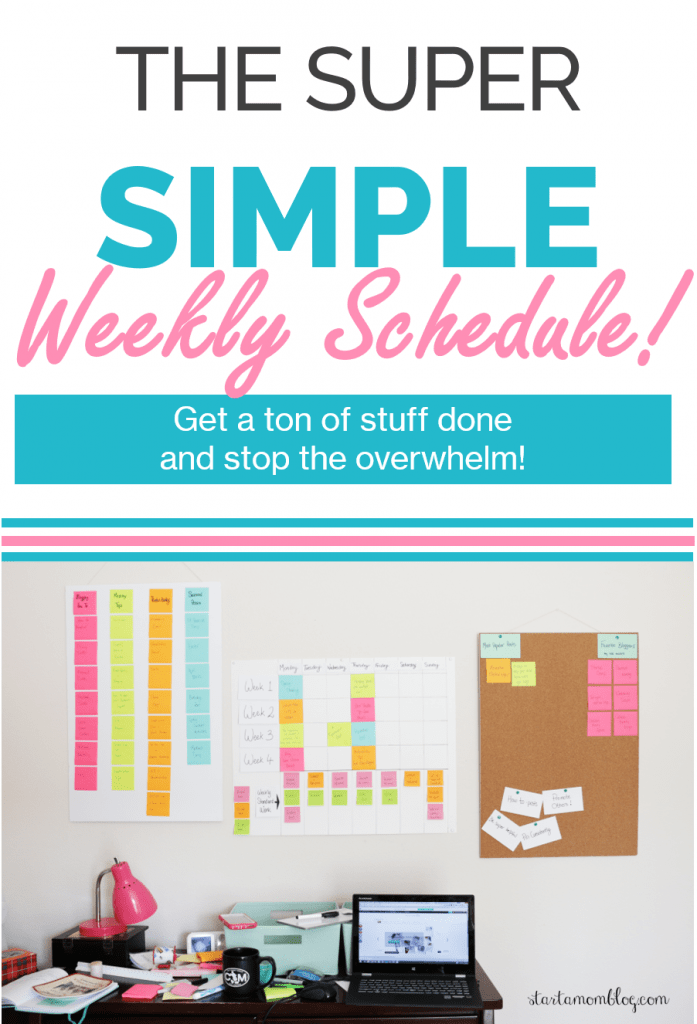 Weekly Schedule - Super Simple Planning Life Hack using Post It Notes #planner #plannning #weeklyschedule #schedule #journal www.startamomblog.com