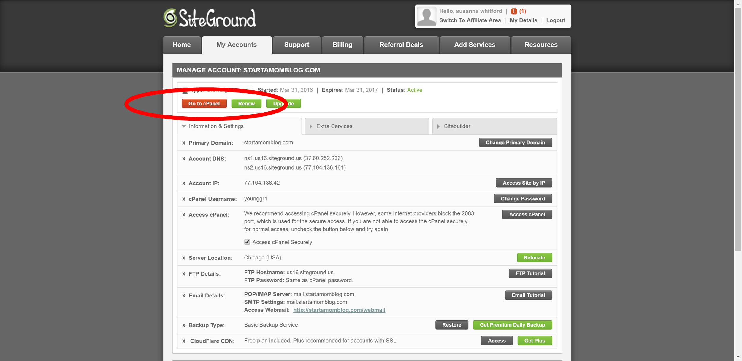 16 Transfer from Bluehost to Siteground with full cpanel backup