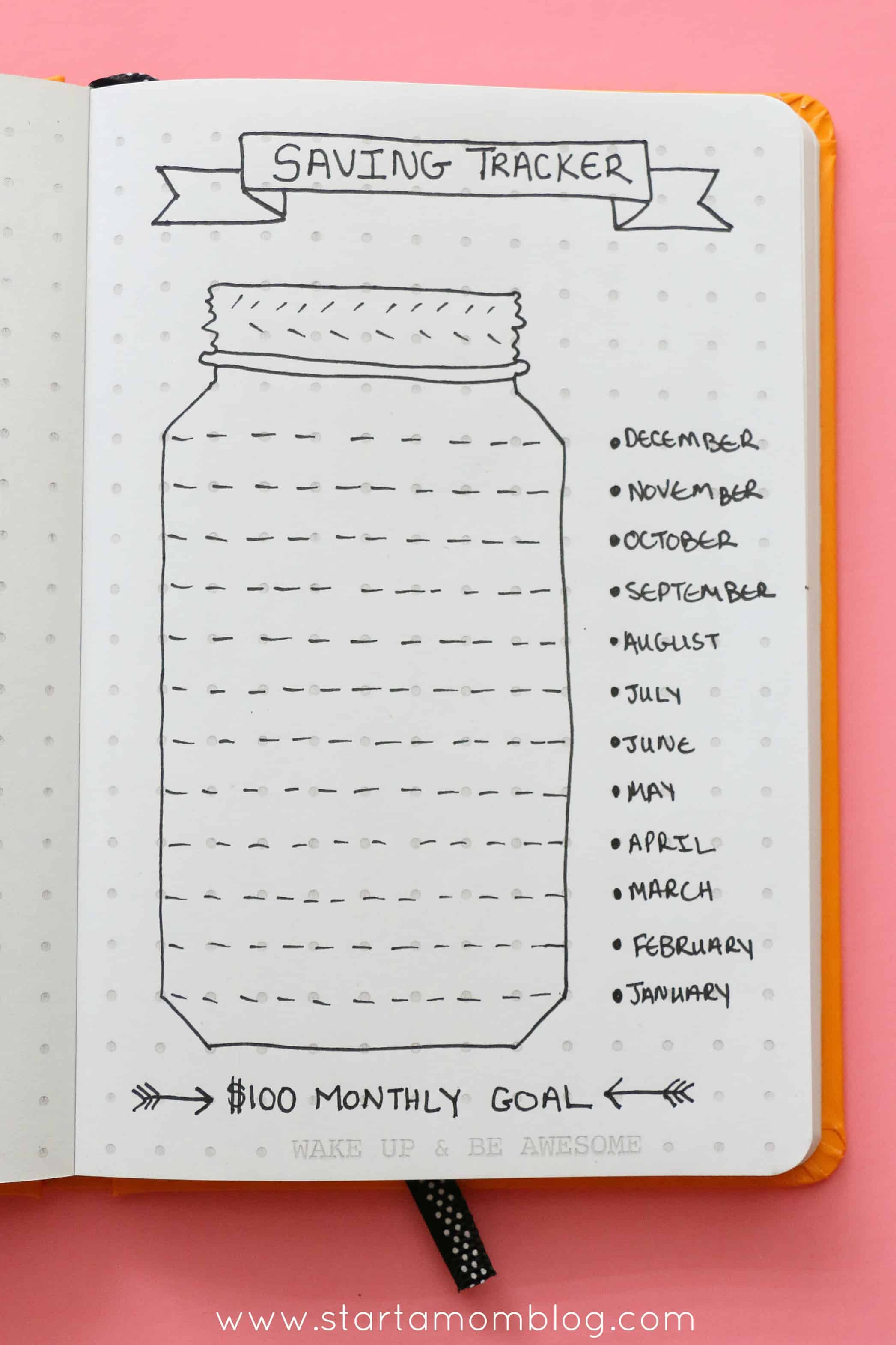 saving tracker log bullet journal