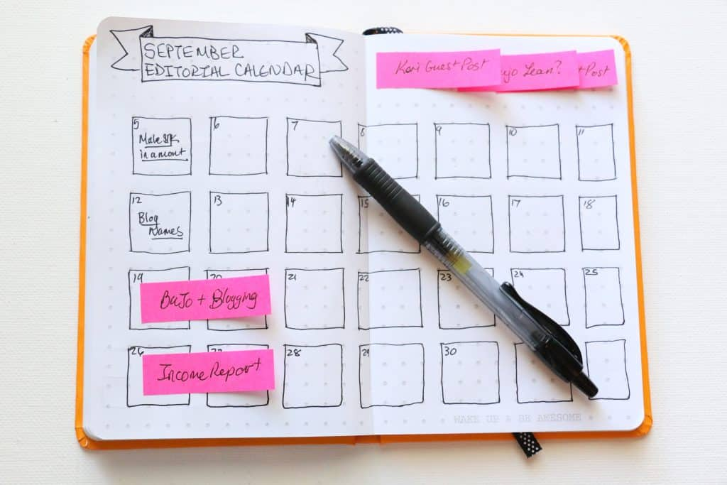 Bullet Journal for Editorial Calendar and Time Management Bloggers and Moms