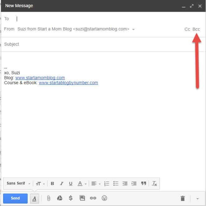 bcc email build an email list for your blog
