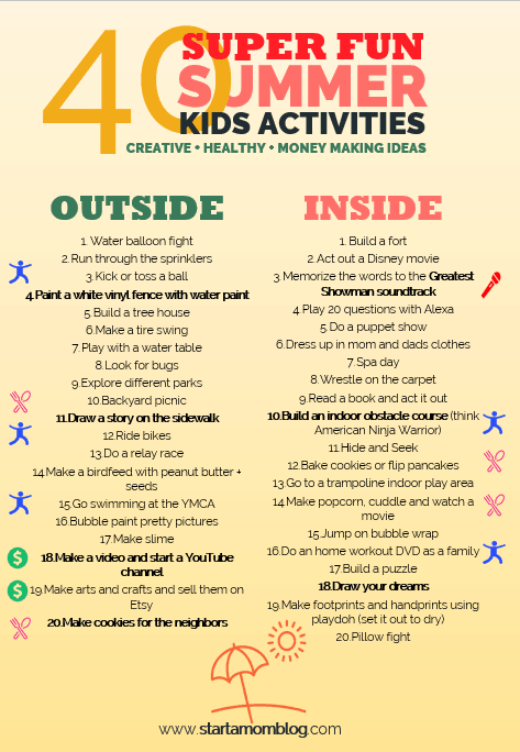 Summer Kids Activities - Ideas to help you start a mom blog