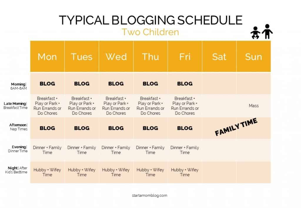 Time Management for Moms Bloggers - Sample Schedule 3