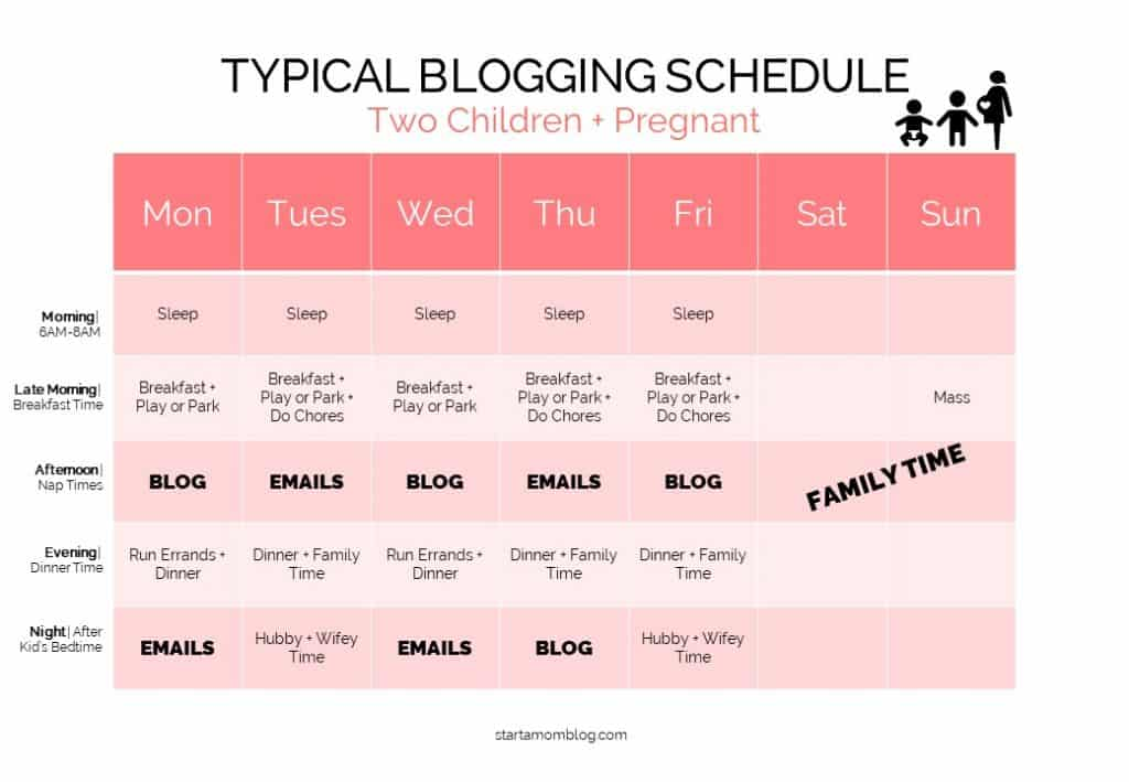 Time Management for Moms Bloggers - Sample Schedule 4