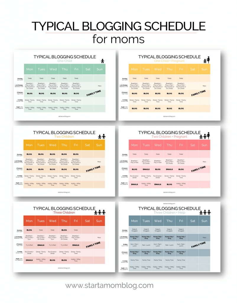 Typical blogging schedule for moms to start and grow a blog
