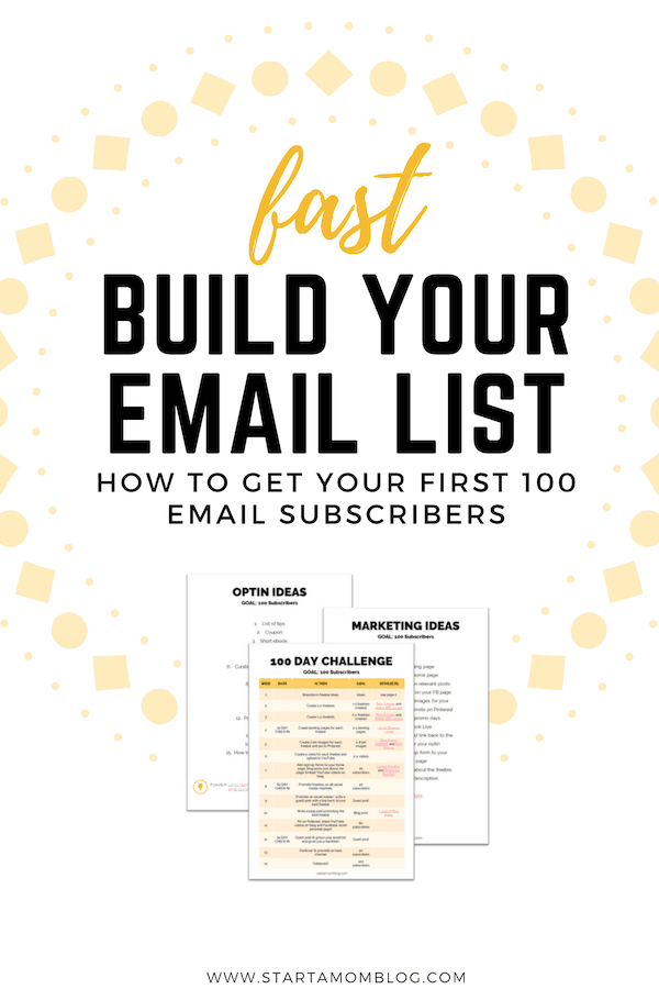 100 Day Challenge - Email List - Start a Mom Blog
