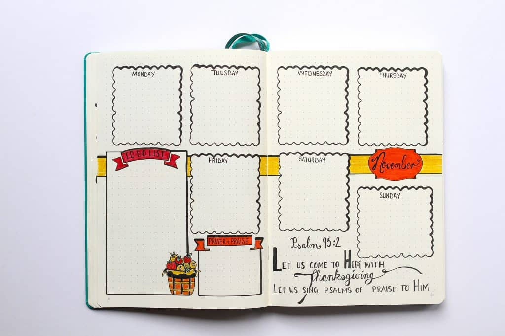 Bullet Journal Supplies and idea list layout