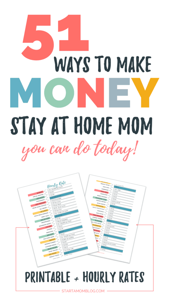51 Ways to make money as a stay at home mom with hourly rates